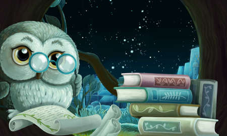 cartoon scene with wise owl in its tree house learning reading books near the city - illustration for children