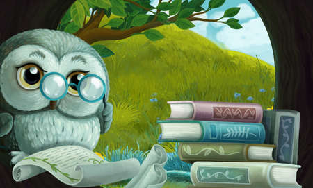 cartoon scene with wise owl in its tree house learning reading books - illustration for children