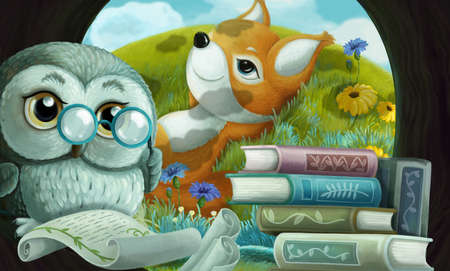 cartoon scene with wise owl in its tree house learning reading books with friends - illustration for children Stockfoto