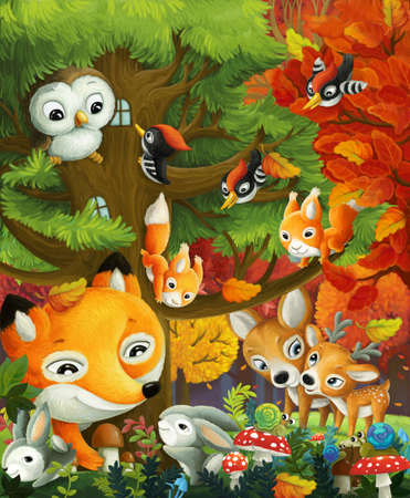 cartoon scene with forest animals friends having fun in the forest illustration for children Stock Photo