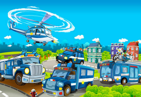 Cartoon stage with different machines for police duty - colorful and cheerful scene - illustration for children Stock Photo