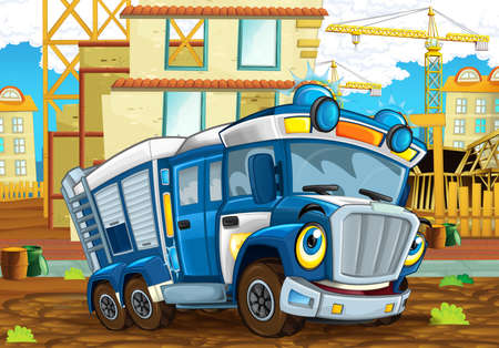cartoon funny looking policeman truck driving through the city near construction site - illustration for children Stock Photo