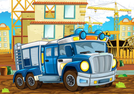 cartoon scene with funny looking police car driving through the city near the construction site illustration for children