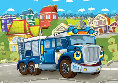 cartoon funny looking policeman truck driving through the city - illustration for children Stock Photo