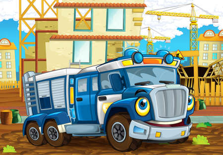 happy and funny cartoon police truck looking and smiling driving through the city or construction site - illustration for children
