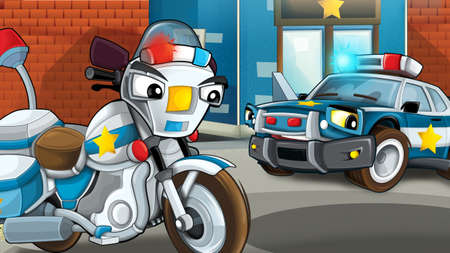 Cartoon scene of police officers talking - car and motorcycle - illustration for children