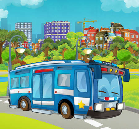 Cartoon stage with police vehicle - bus - colorful and cheerful scene - illustration for children