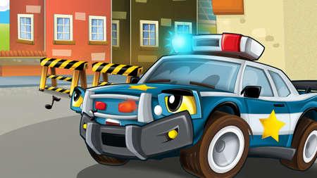cartoon scene with police car - illustration for children