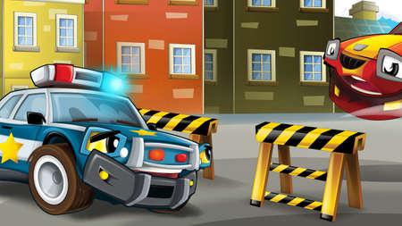 cartoon police car officer on the road block - illustration for children