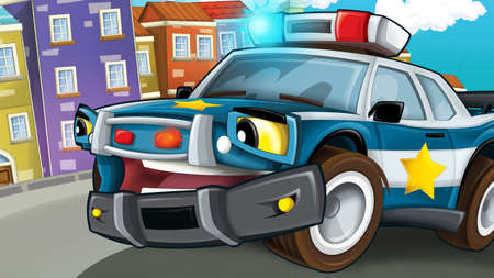 cartoon scene with police car driving through the city - illustration for children