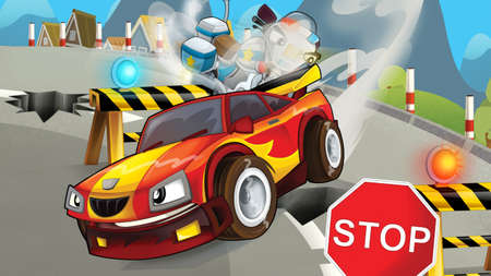 Cartoon scene of police pursuit - police motorcycle chasing racing car - illustration for children