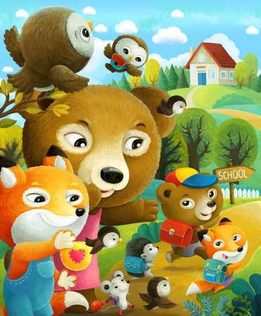 cartoon scene with little bear walking with friends in the night in the forest illustration for children