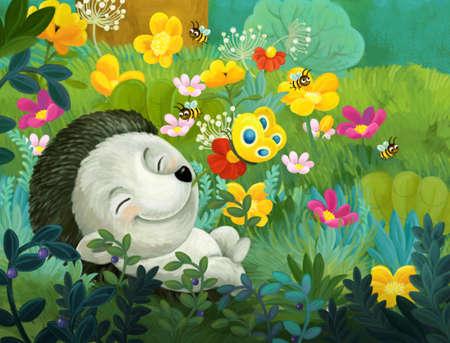 cheerful cartoon scene forest animal hedgehog illustration for children