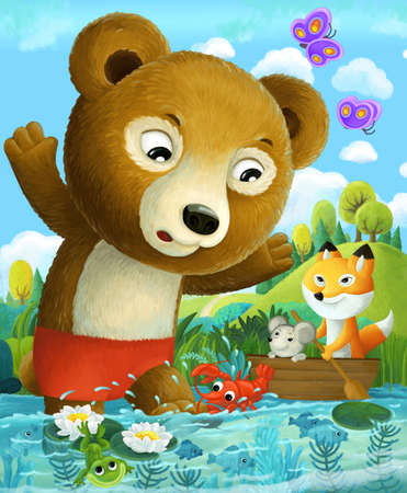 cartoon scene with bear in the water caught by langusta crab like animal illustration for children