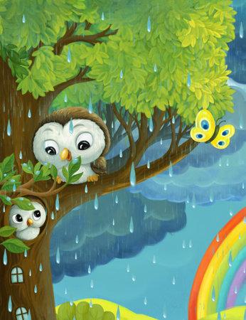 cartoon rainy scene with owls butterflies and rainbow illustration for children