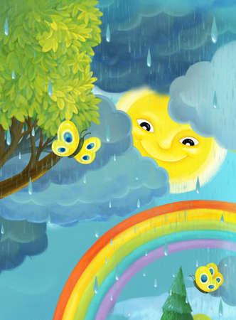 cartoon rainy scene with butterflies and rainbow illustration for children