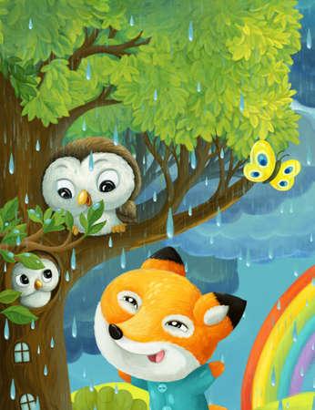 cartoon rainy scene with owls butterflies fox and rainbow illustration for children