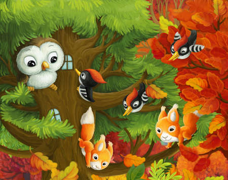 cartoon scene with animals living on a tree with owl woodpeckers and squirrels illustration for children