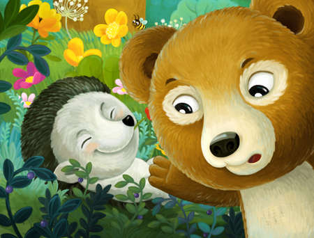 cheerful cartoon scene forest animal hedgehog and bear illustration for children Stock Photo