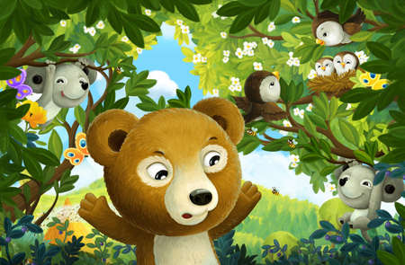 cheerful cartoon scene forest animal mouse and bear illustration for children Stock Photo