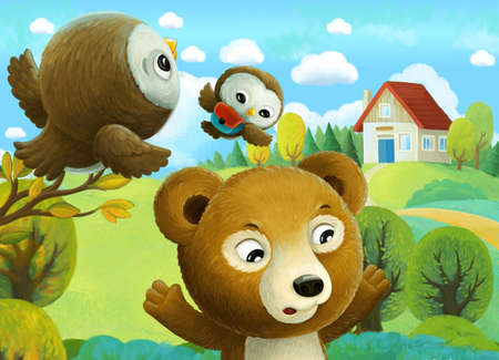 cheerful cartoon scene forest animals kids and bear going to village school illustration for children Stock Photo