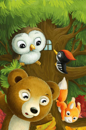 cartoon scene with animals living on a tree with owl woodpeckers bear and squirrels illustration for children
