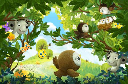 cheerful cartoon scene forest animal mouse illustration for children Stock Photo