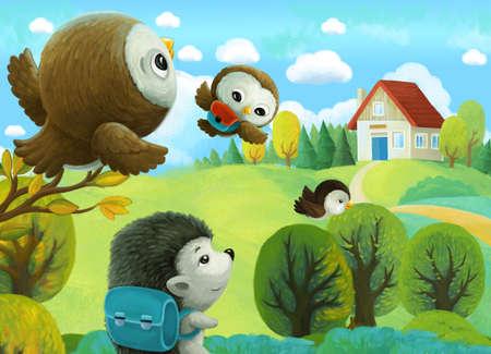 cheerful cartoon scene forest animals kids going to village school illustration for children Stock Photo