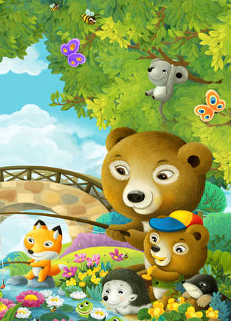 cheerful cartoon scene animals friends and family in forest illustration for children Stock Photo