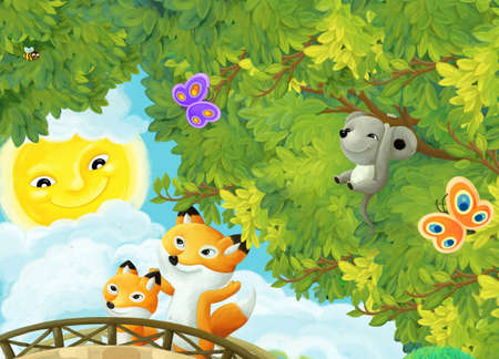 cheerful cartoon scene animals friends and family of foxes walking in forest illustration for children Stock Photo