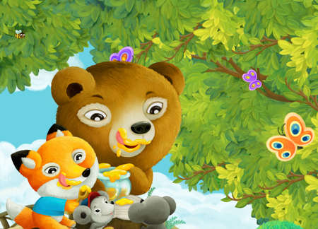 cartoon scene with park or forest and shining sun and happy animal kids eating honey illustration for children