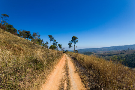 lagging: sky blue and the off   road  in the moutain of thailand