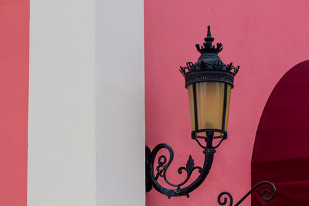 a lamp with Pink wall in the museum photo
