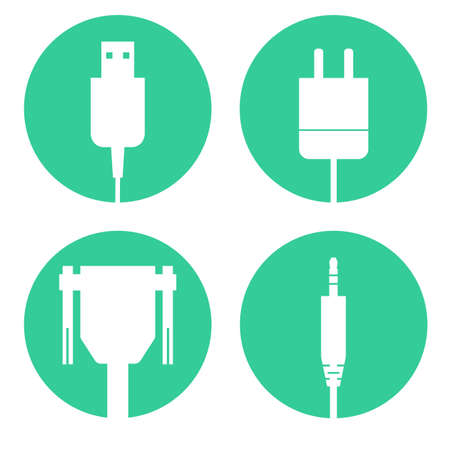 cables icons set Illustration