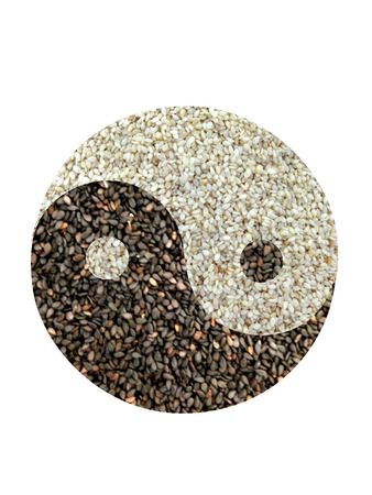 White rice and black rice with yin yang shape