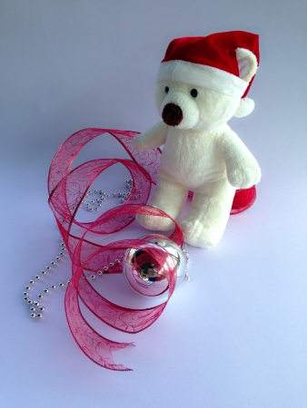 wear: Bear wear santa hat with christmas decoration