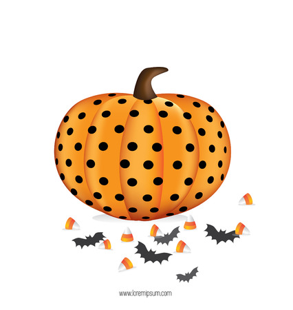 Halloween pumpkin with bat and candy on white background.