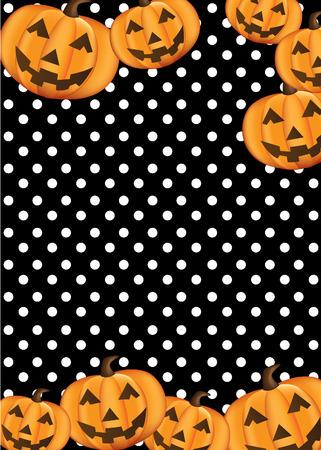 Pumpkin on black background.Halloween style background design template .