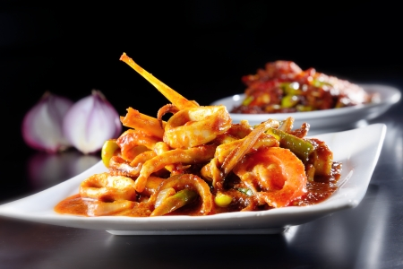 Sambal spicy squid cook in traditional baba style