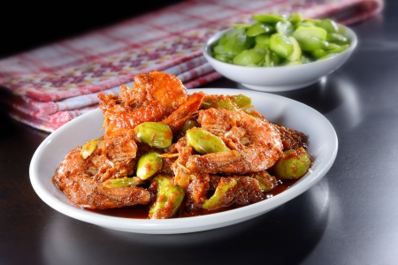 prawns: Malaysian traditional spicy dish with stinky bean