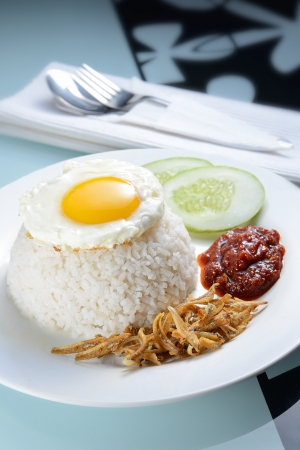 Tradition Nasi lemak with nice table setting photo