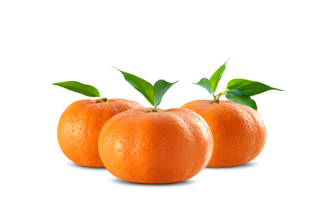 mandarin oranges: Mandarin oranges on clean white Stock Photo
