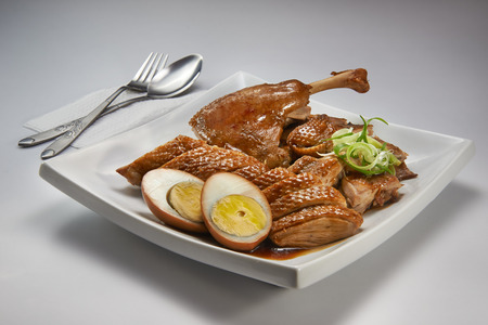 Braised duck meat on white plate Stok Fotoğraf - 25834634