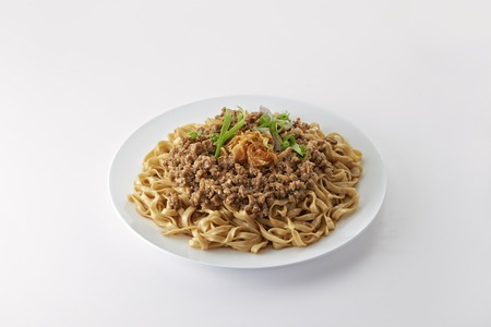 fresh food fish cake: Fried Noodle with minced pork fried onion in clean background Stock Photo