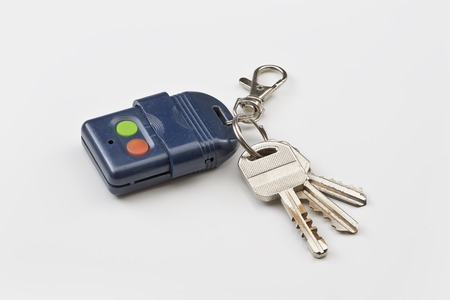Remote control with keys in clean background