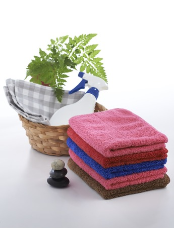 Towel and stone with relax set up on clean background