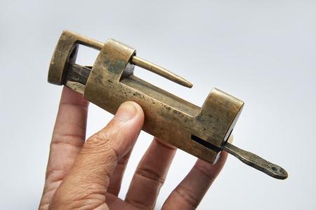 Old style lock on clean background Reklamní fotografie