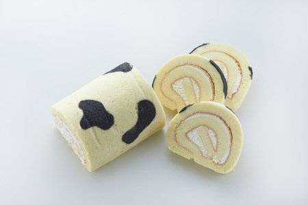 Milk and Charcoal Swiss Roll cake