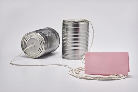 Vintage tin can telephone system Reklamní fotografie