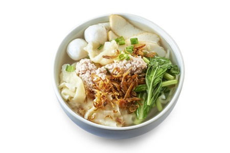 Flat Pan Mee soup with Cooked Ingredients